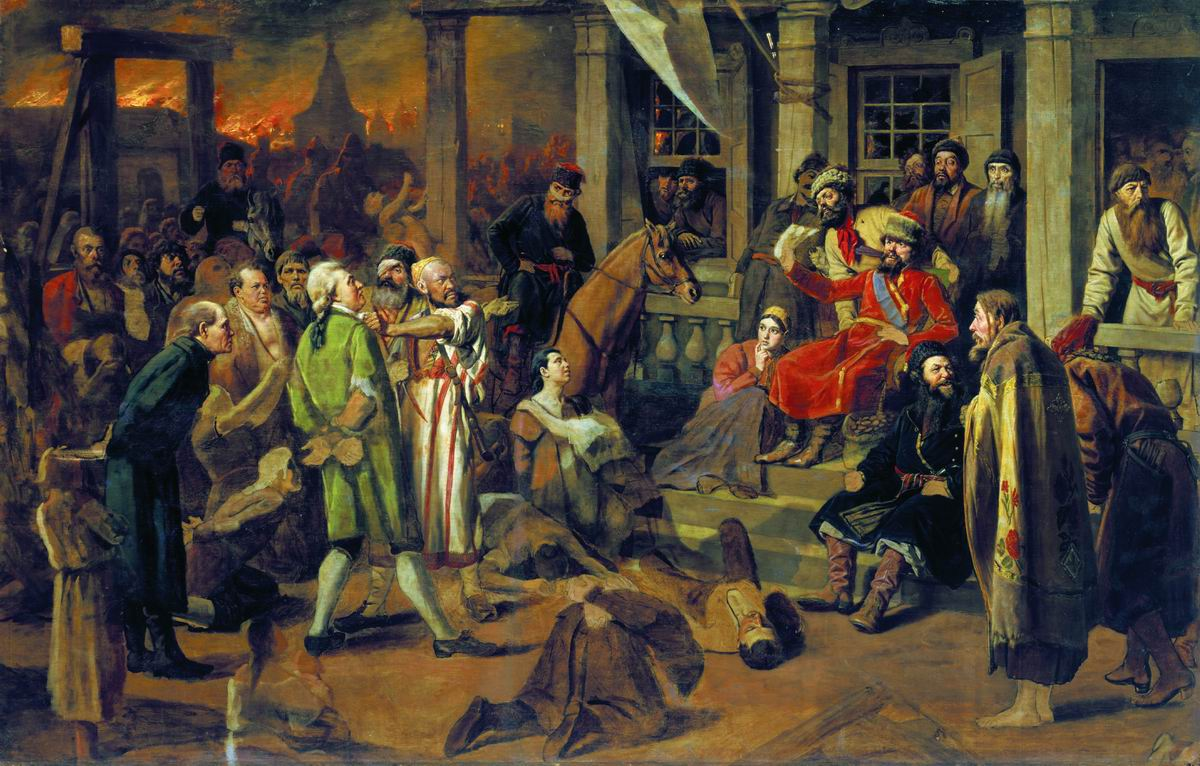Pugachev Administering Justice to the Population. Painting by Vasily Perov.