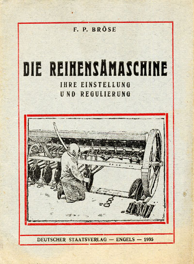 Booklet on harvest equipment published in Engels in 1935
