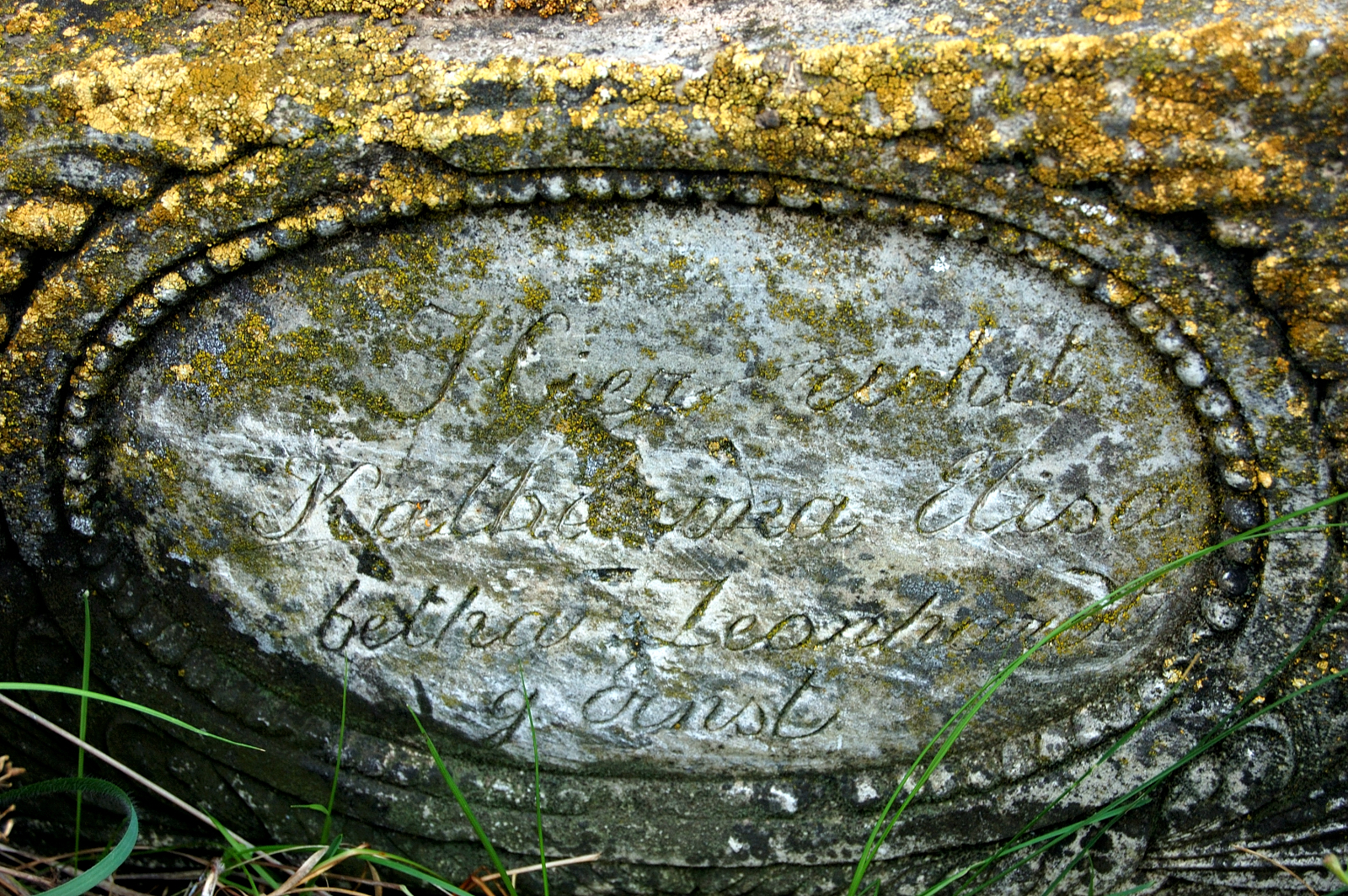 "Inscription on the headstone reads: ""Here rests Katherina Elisabetha Leonhardt, born Ernst"". Courtesy of Steve Schreiber (2006)."