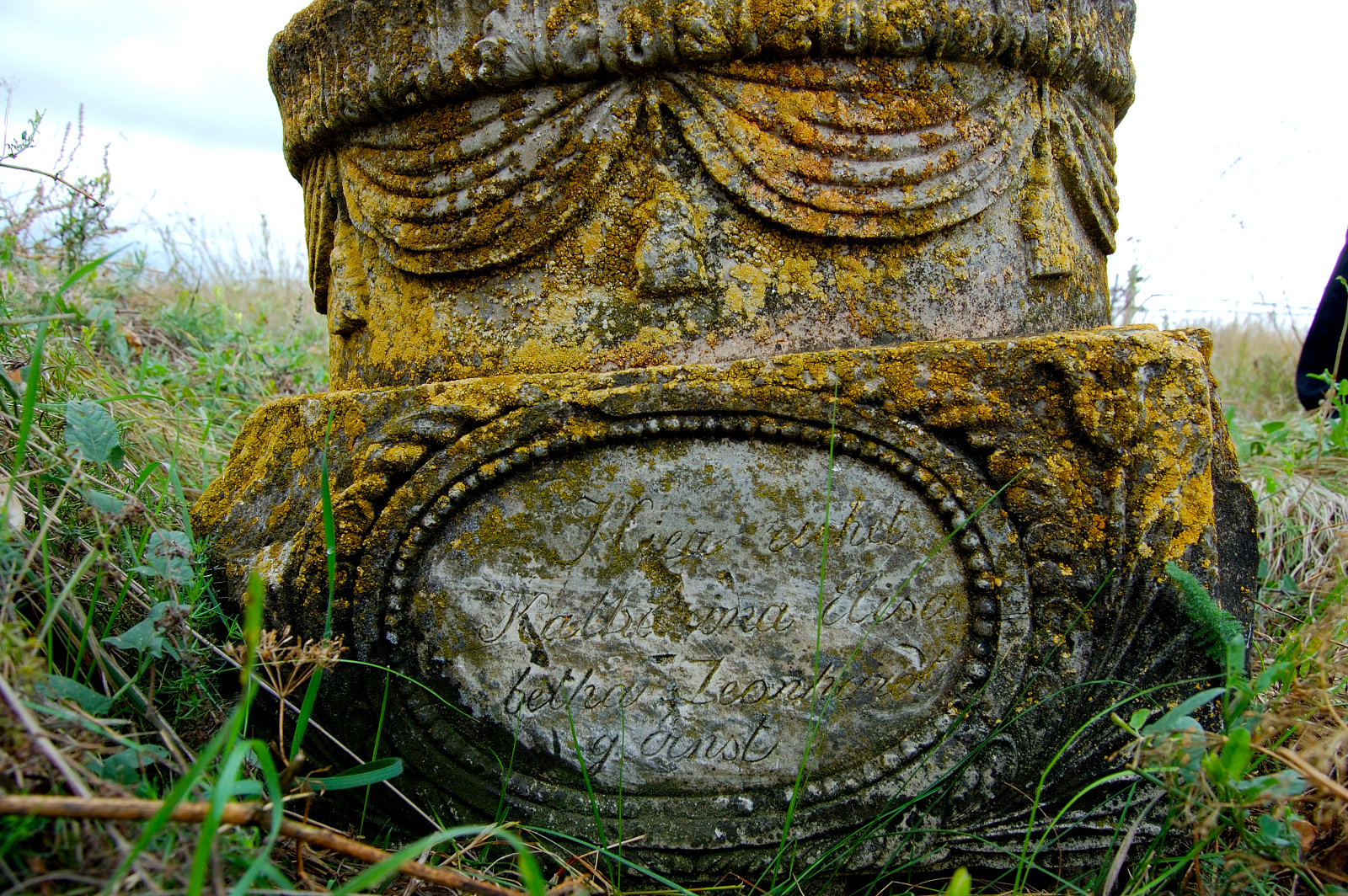 Headstone remaining in the Grimm cemetery. Courtesy of Steve Schreiber (2006).