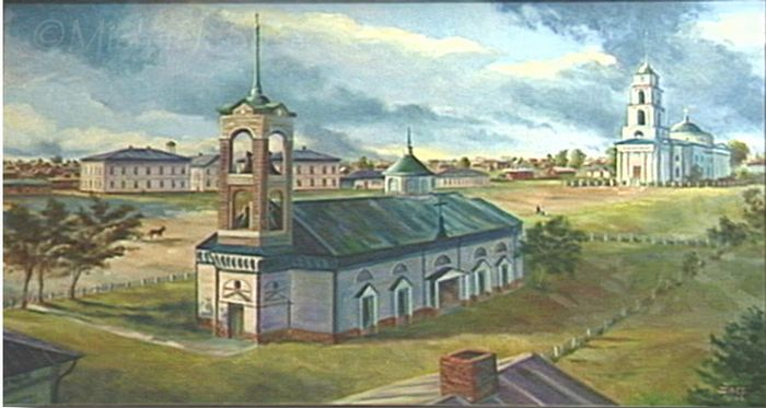 Painting of Katharinenstadt showing the Catholic church in the foreground with the Lutheran church behind. Artist: Michael Boss. From the collection of Linda Tate, Cincinnati, Ohio.