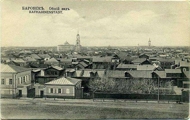 Panorama of Katharinenstadt taken from the north between 1917 and 1941. Lutheran church is in the distance on the right; the Catholic church steeple can be seen in the distance toward the right.