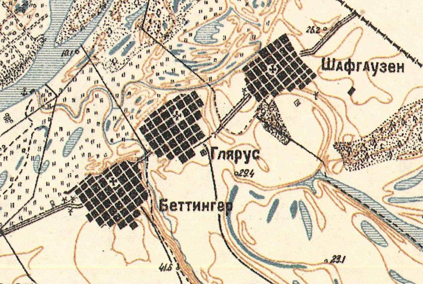 Map showing Biberstein in the center (1935).
