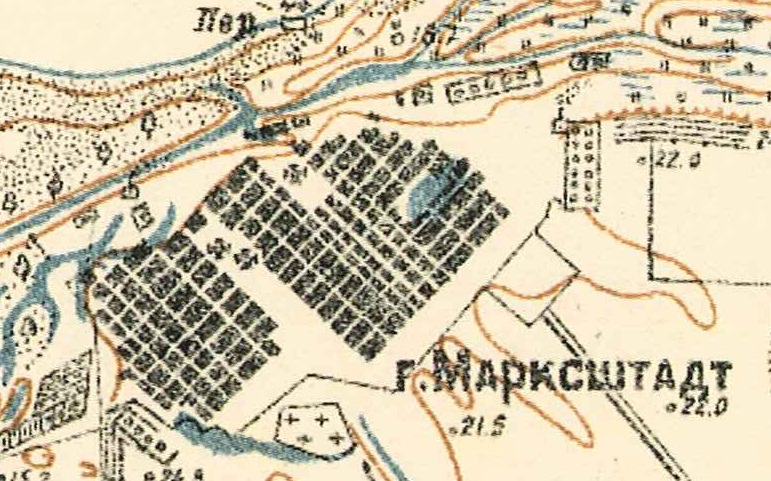 Map showing Katharinenstadt known as Marxstadt at this time (1935).