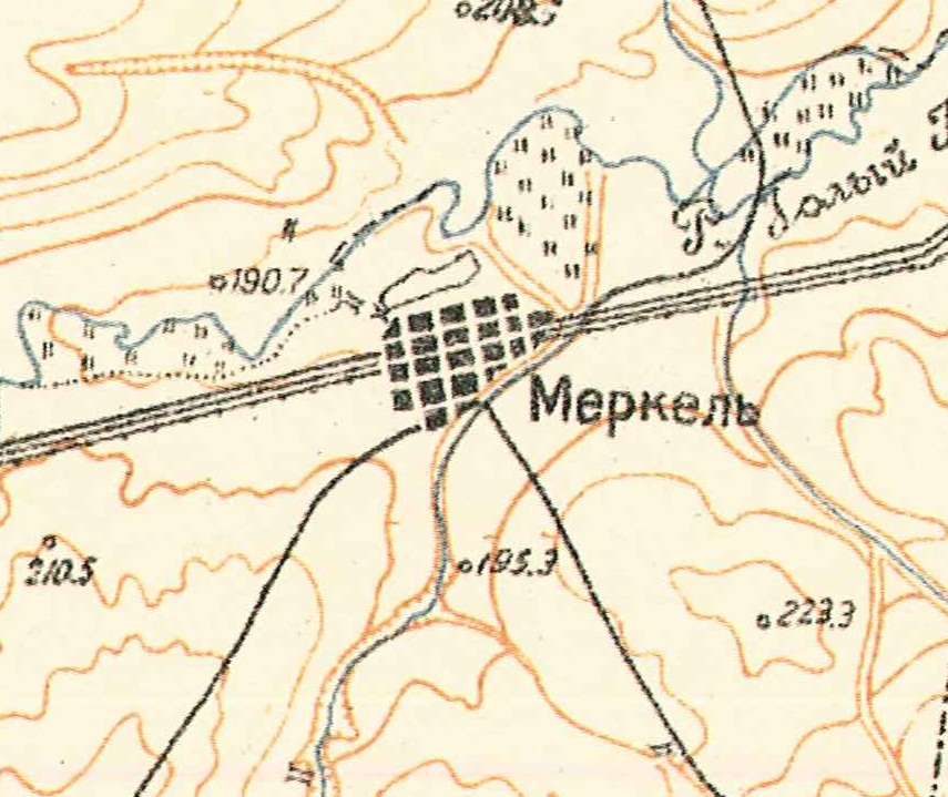 Map showing Merkel (1935).