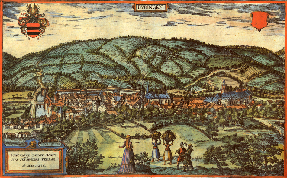 View of Büdingen in 1617 by Simon van den Neuwel. Source: Wikimedia Commons.