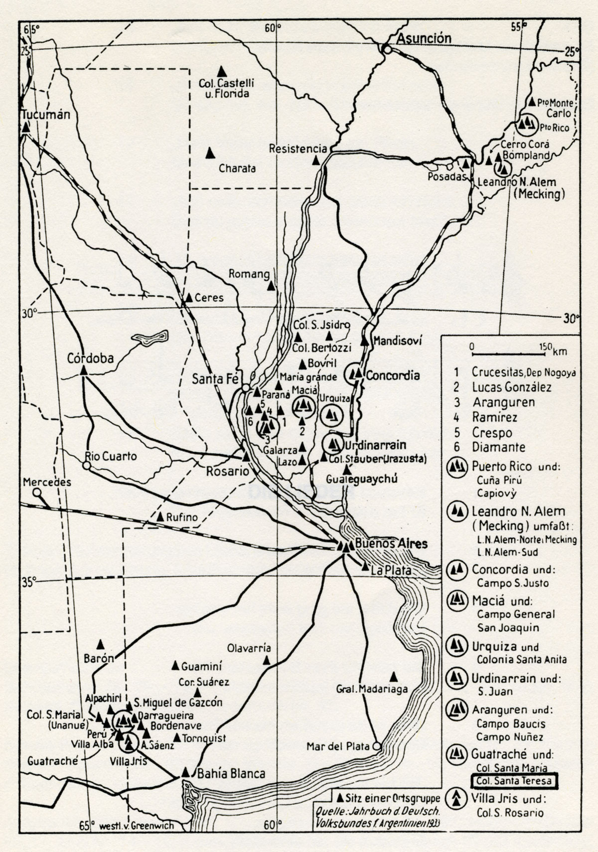 Map of settlements in Argentina