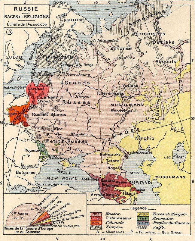 "Ethnic map of Russia in 1898. The symbol ""A."" represents ""Allemands,"" a French word meaning ""Germans."" Source: Wikipedia."