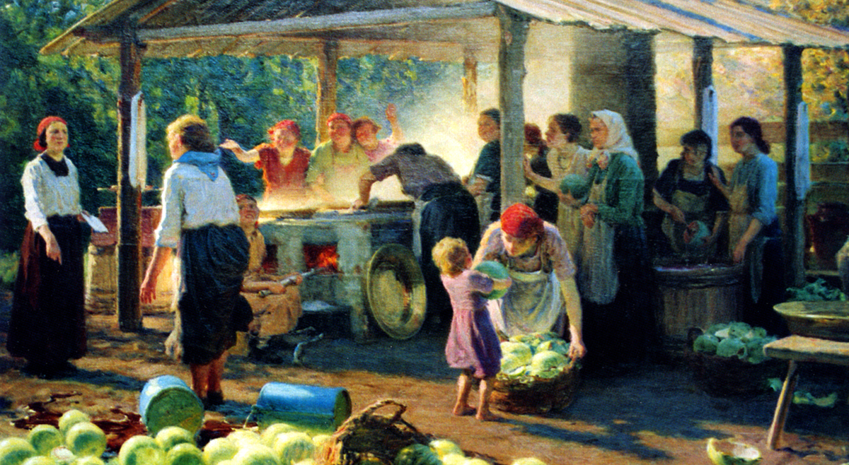 "Volga Germans making watermelon syrup. Painting by Jakob Weber. From the book ""Talent from the Volga"" by V. G. Khoroshilova (2006)."