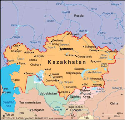 Map of Kazakhstan. Source: unknown.